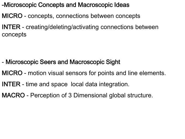 -Microscopic Concepts and Macroscopic Ideas