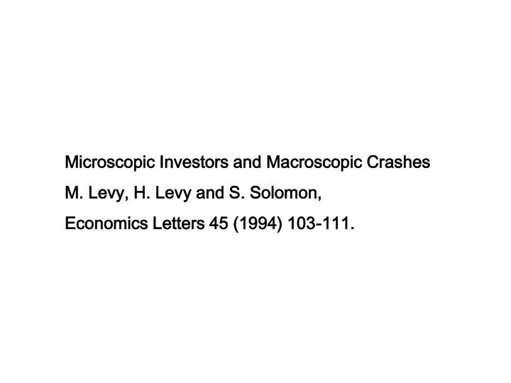 Microscopic Investors and Macroscopic Crashes