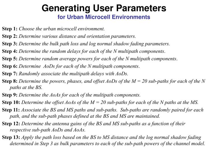 Generating User Parameters