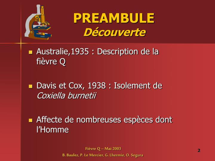 Preambule d couverte