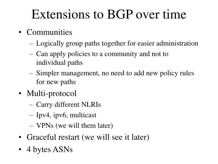 Extensions to BGP over time