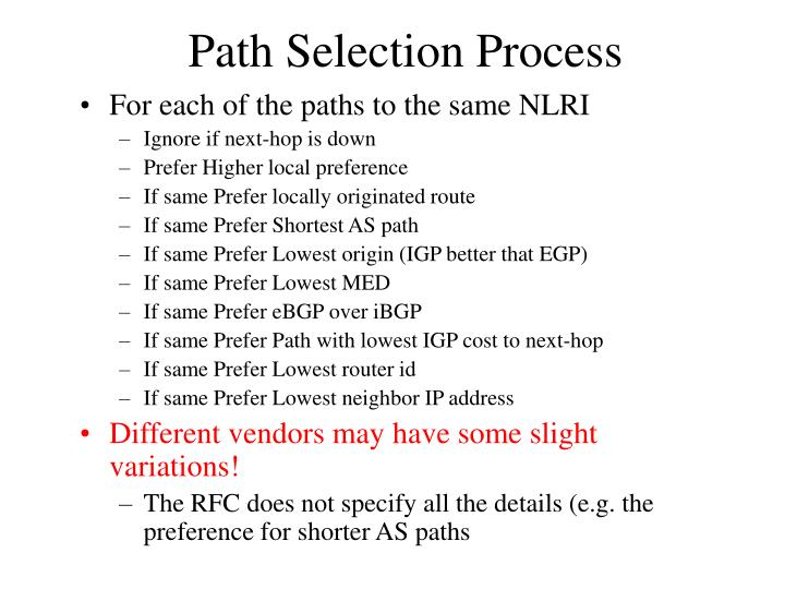 Path Selection Process