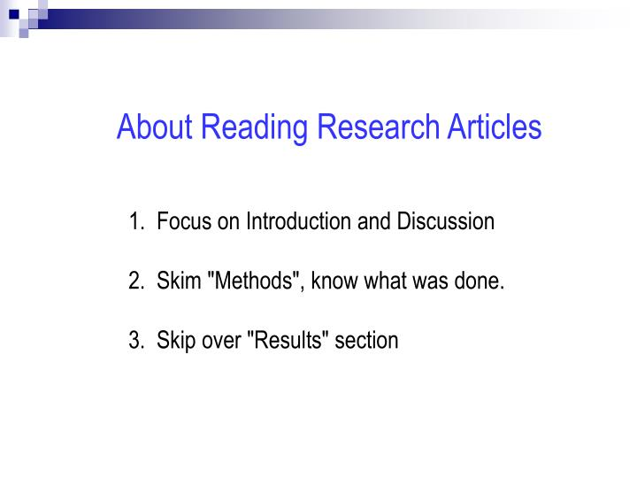 About Reading Research Articles