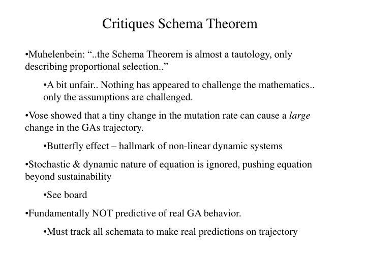 Critiques Schema Theorem