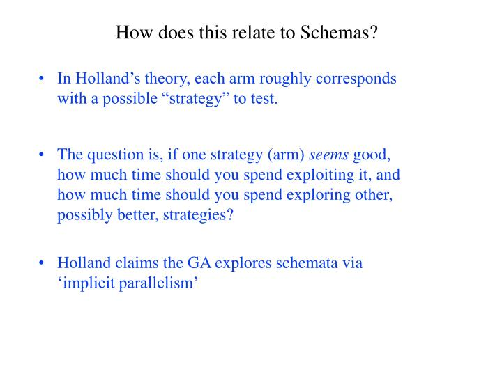 """In Holland's theory, each arm roughly corresponds with a possible """"strategy"""" to test."""