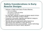 safety considerations in early reactor designs