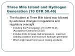 three mile island and hydrogen generation 10 cfr 50 461