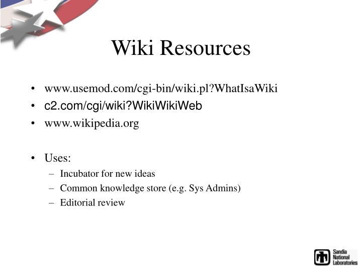Wiki Resources