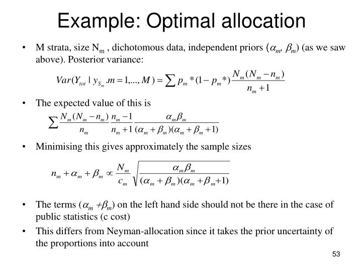 Example: Optimal allocation
