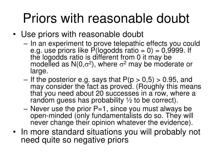Priors with reasonable doubt