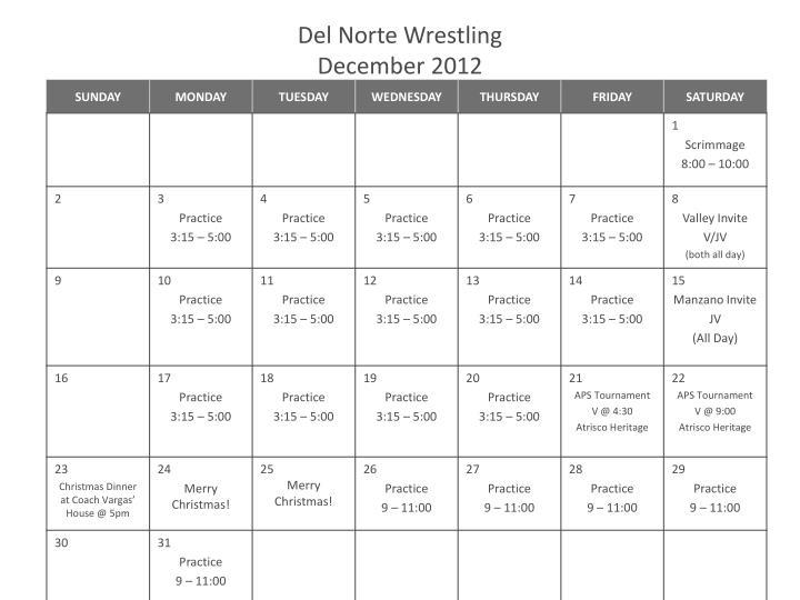 Del norte wrestling december 2012