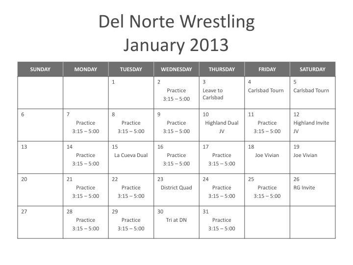 Del norte wrestling january 2013