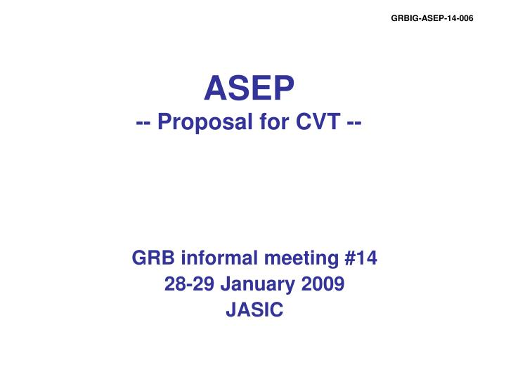 asep proposal for cvt