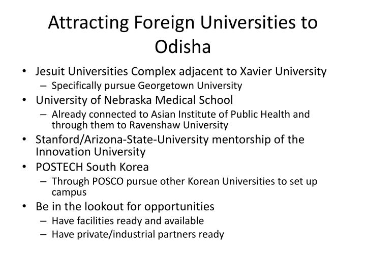 Attracting Foreign Universities to