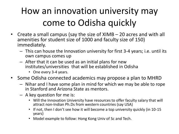 How an innovation university may come to