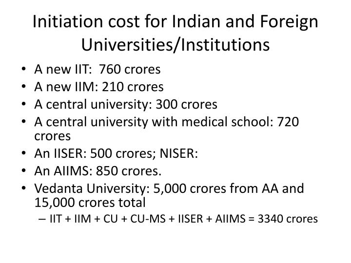 Initiation cost for Indian and Foreign Universities/Institutions