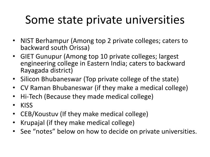 Some state private universities
