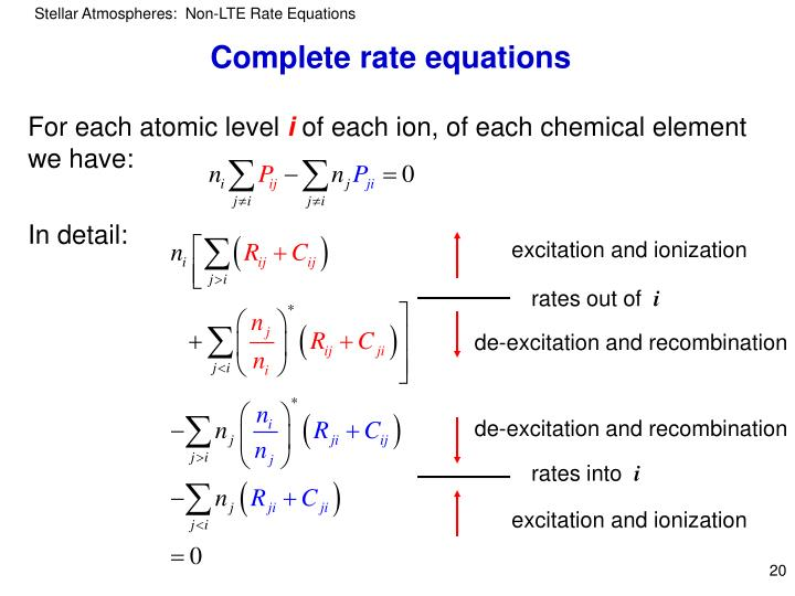 Complete rate equations