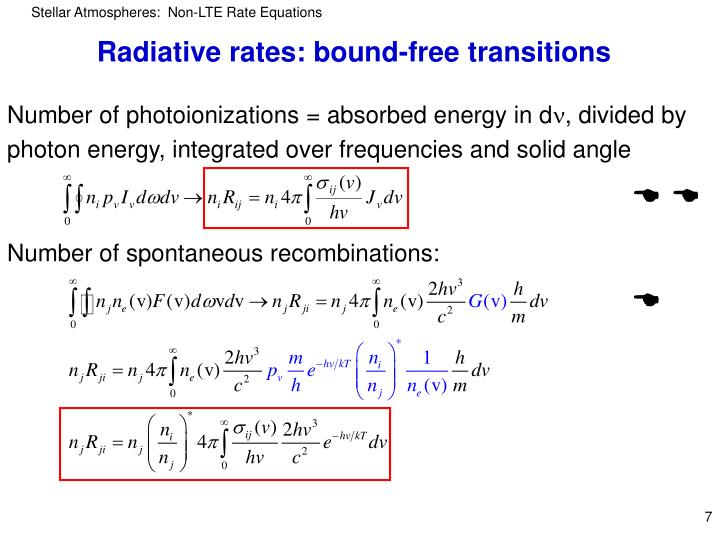 Radiative rates: bound-free transitions