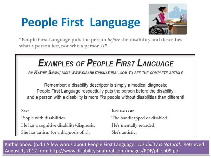 the language of disabilities essay A learning disability a learning disability (ld) is a disorder in one or more of basic psychological process involved in understanding or using the language which may manifest in an imperfect ability to think, speak, listen, read , write , spell or conduct mathematical calculations.