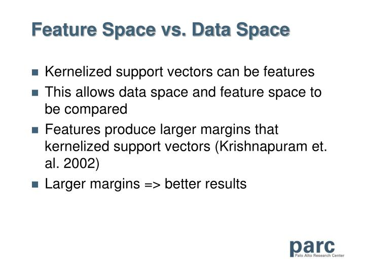 Feature Space vs. Data Space