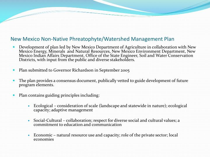 New mexico non native phreatophyte watershed management plan