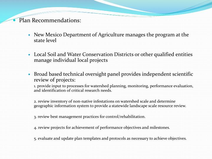 Plan Recommendations: