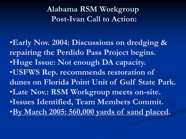 Alabama RSM Workgroup