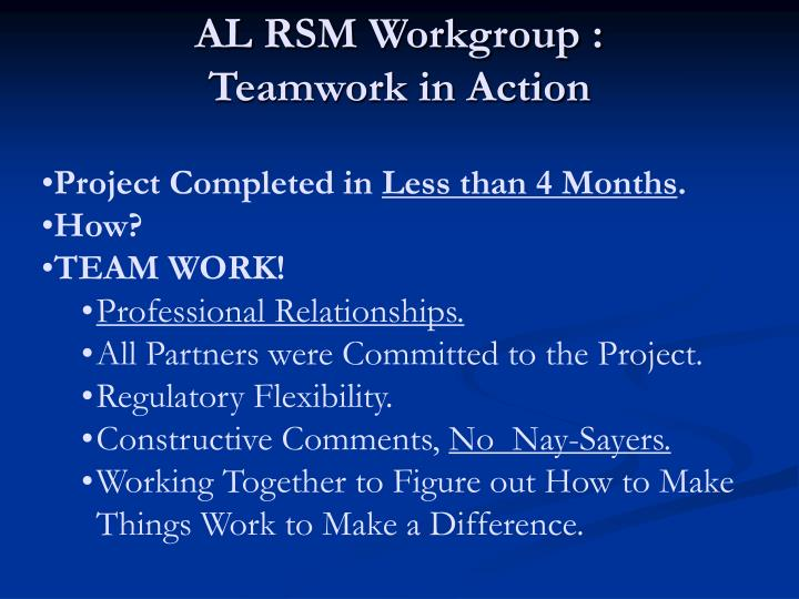 AL RSM Workgroup :
