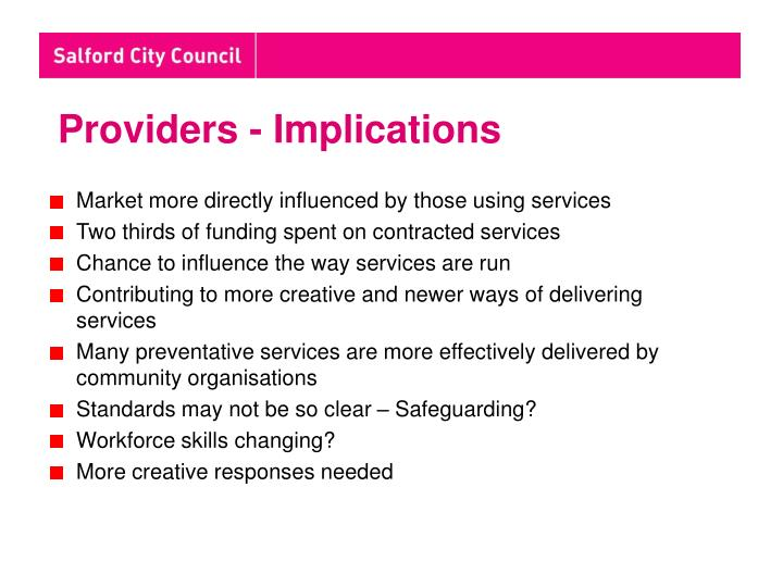 Providers - Implications