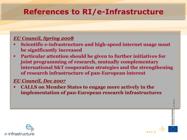 References to RI/e-Infrastructure