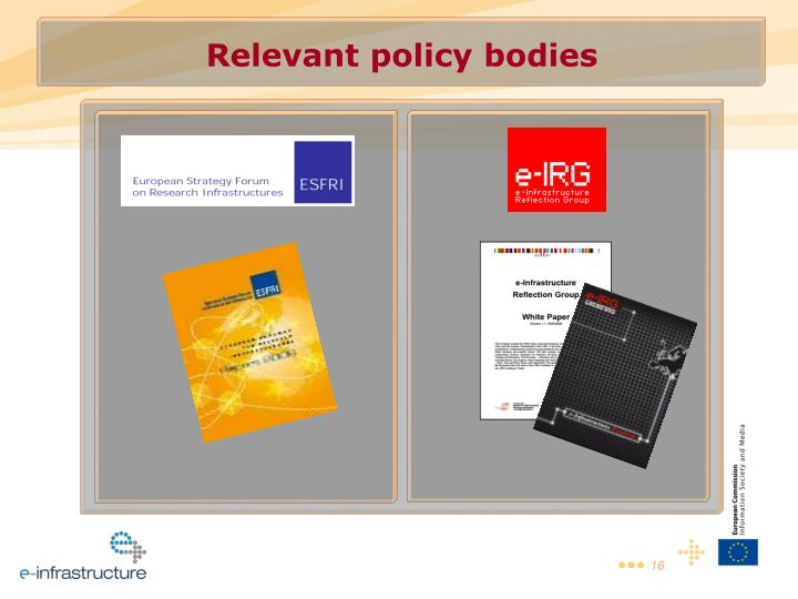 Relevant policy bodies