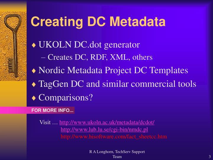 Creating dc metadata