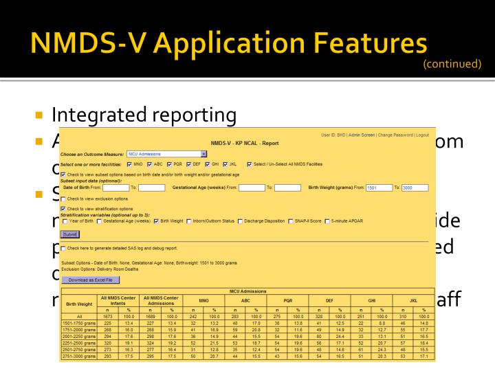 NMDS-V Application Features