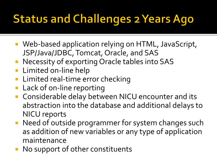 Status and Challenges 2 Years Ago