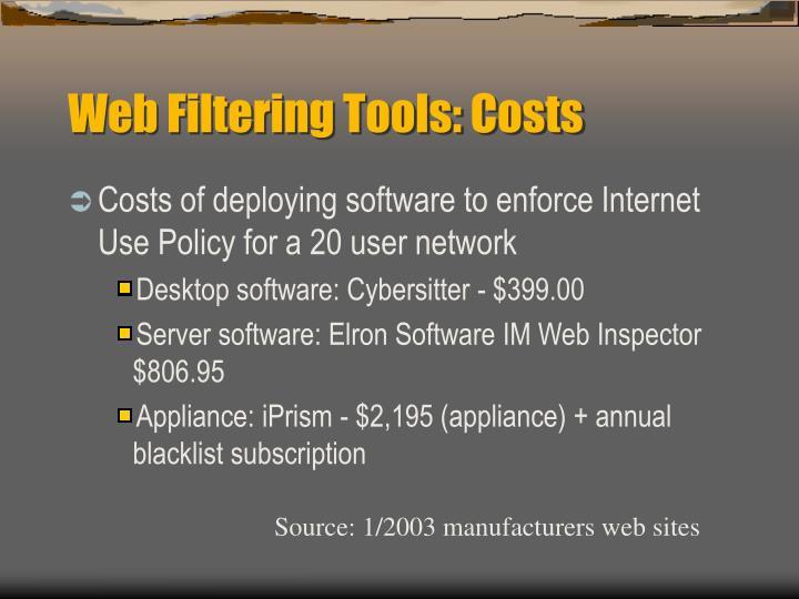 Web Filtering Tools: Costs