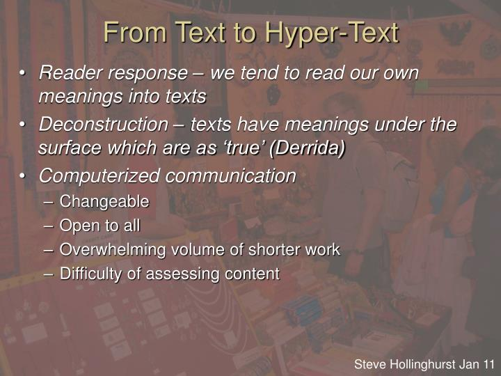 From Text to Hyper-Text