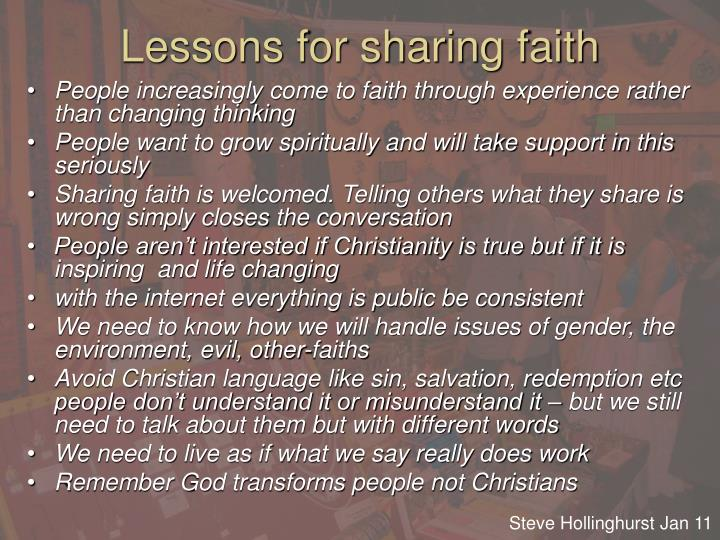 Lessons for sharing faith
