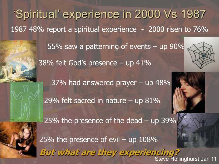 'Spiritual' experience in 2000 Vs 1987