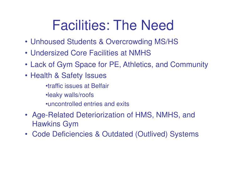 Facilities the need