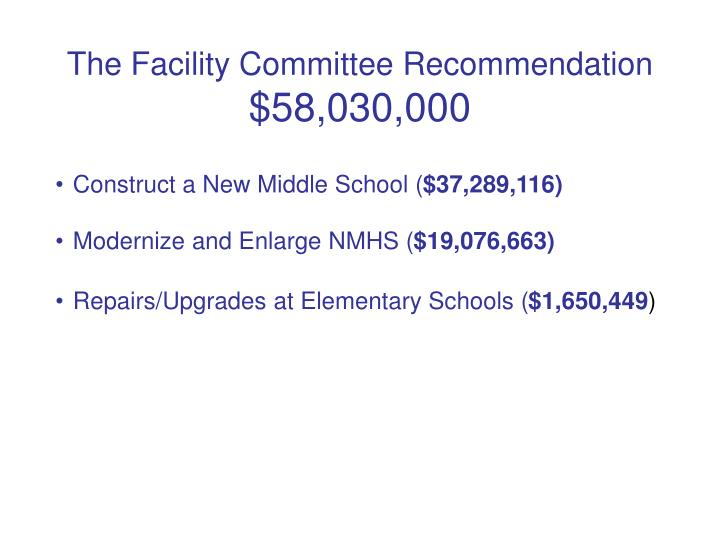 The facility committee recommendation 58 030 000