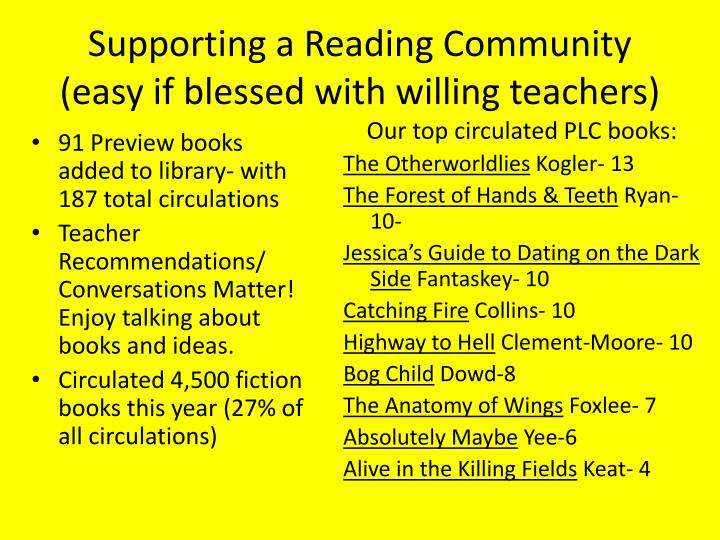 Supporting a Reading Community (easy if blessed with willing teachers)