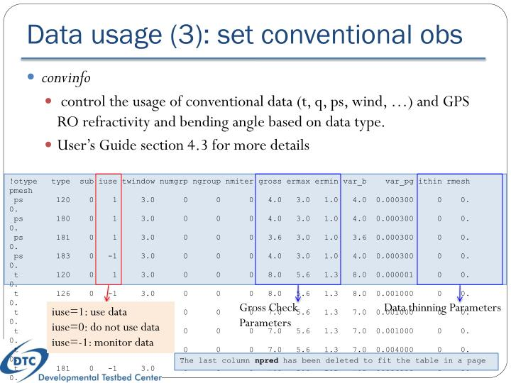 Data usage (3): set conventional obs