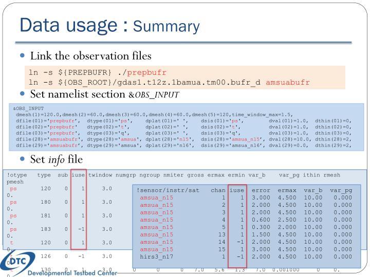 Data usage :