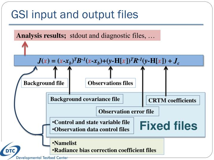 GSI input and output files