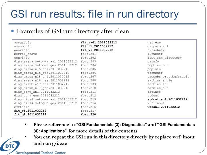 GSI run results: file in run directory