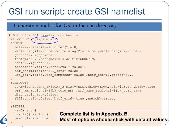 GSI run script: create GSI namelist