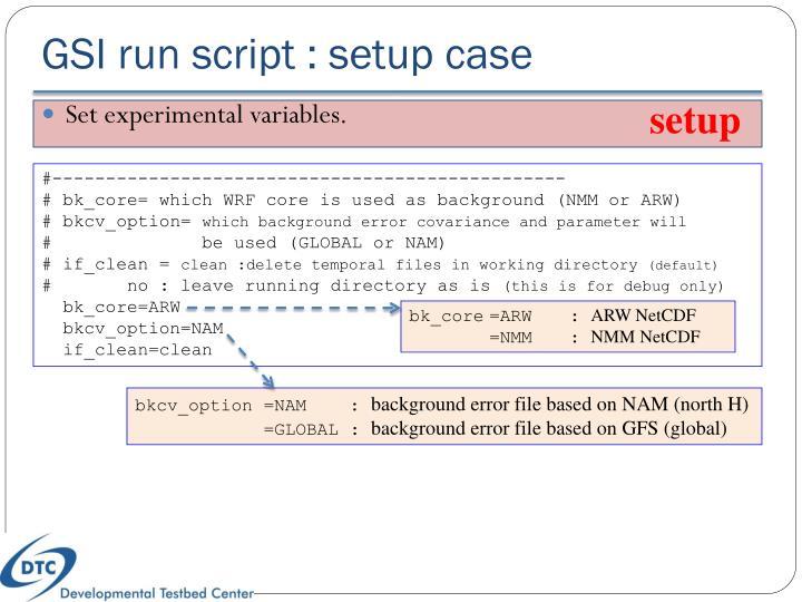 GSI run script : setup case