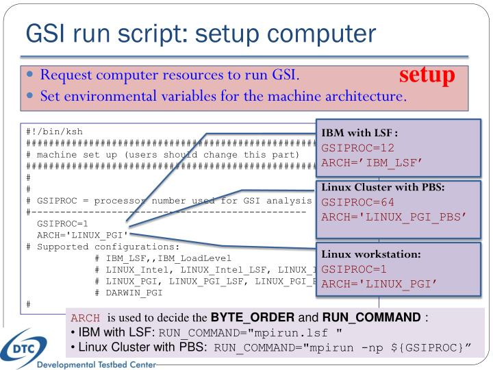 GSI run script: setup computer