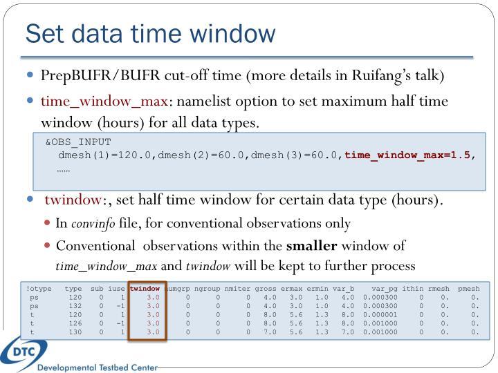 Set data time window
